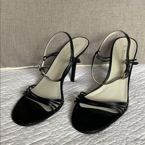 "BCBGIRLS NWOT Black Leather Heels 3.75"" Size 9B"